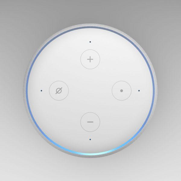 3D Illustration of Amazon Echo Dot 2nd generation, white on light backround.