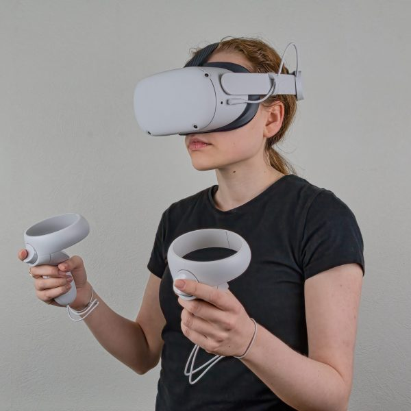 Young female wearing a virtual reality headset